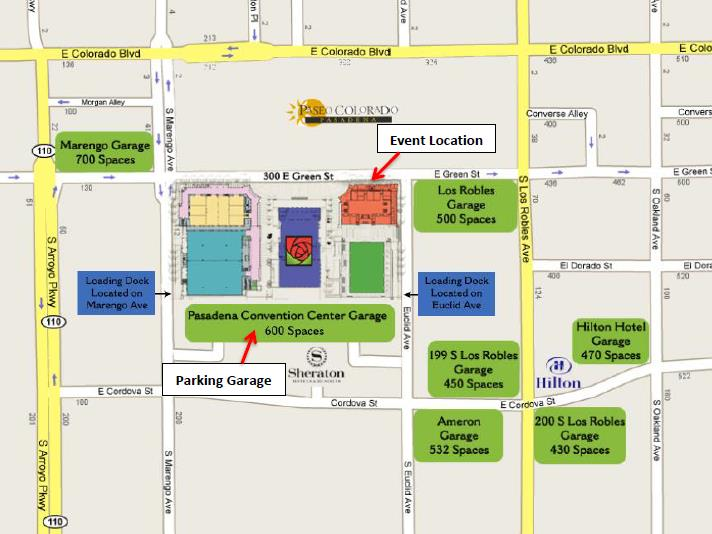Pasadena Convention Center Parking Map